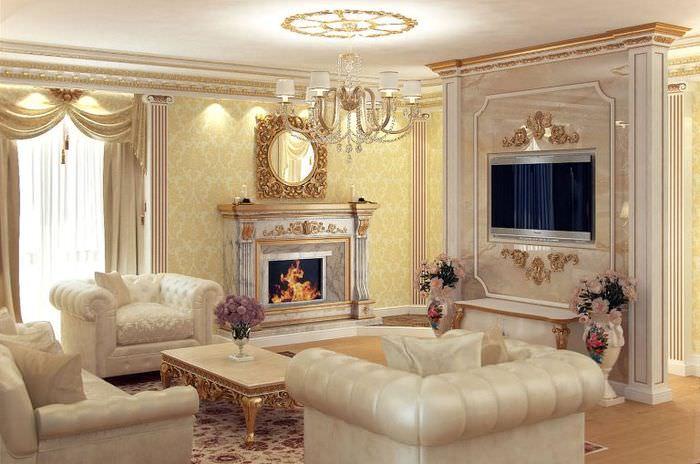 Шикарные кресла в гостиной классического стиля