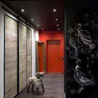 Дизайн прихожей с черным потолком