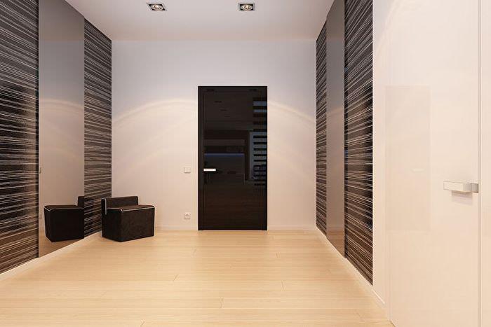 Коричневые дверцы шкафа-купе в стиле минимализма