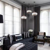 Дизайн гостиной в темных оттенках