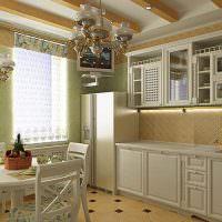 Линейный кухонный гарнитур классического стиля