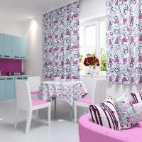 Кухонная мебель с розовой обивкой