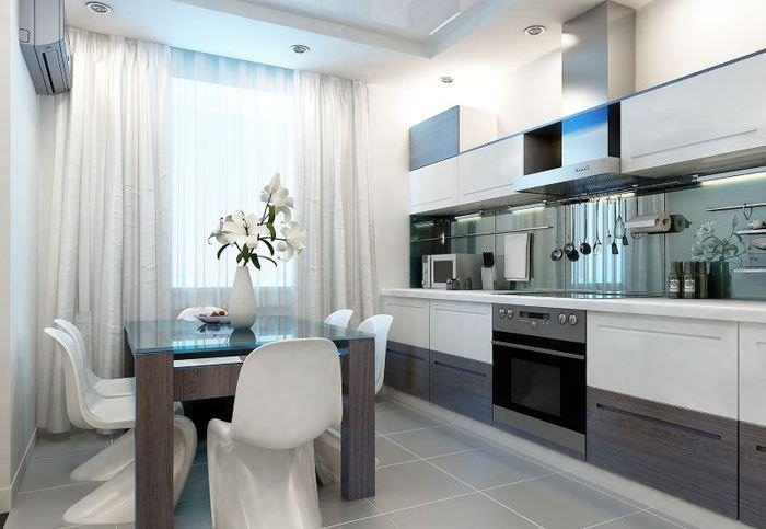 Дизайн кухни в стиле хай-тек с длинными шторами