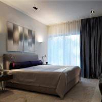 Черные шторы в спальне стиля минимализма