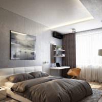 Подсветка двухуровневого потолка в спальной комнате
