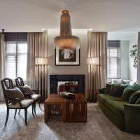 Интерьер гостиной с модными шторами