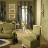 Оформление гостиной в зеленых оттенках