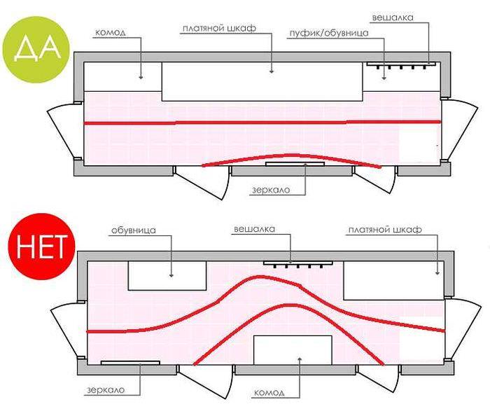 Схема-чертеж узкой прихожей с мебелью