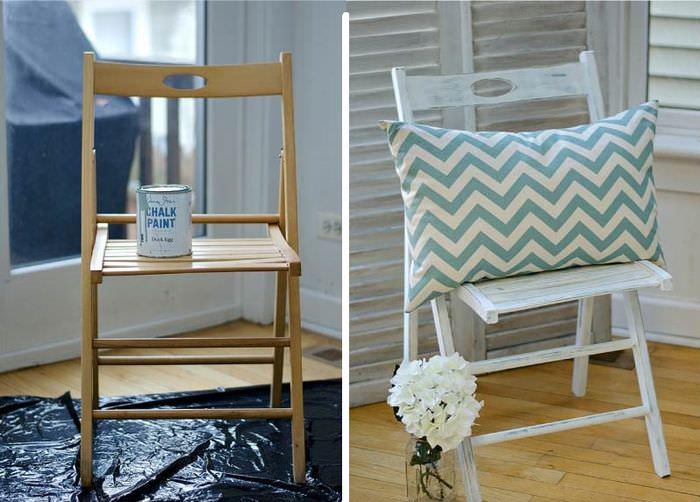 Реставрация складного стула с помощью перекраски