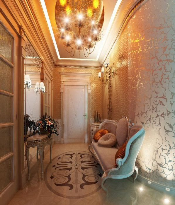 Яркое освещение коридора в стиле арт-деко