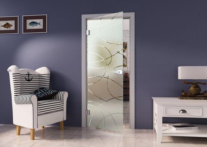 Стеклянная дверь с матовой поверхностью