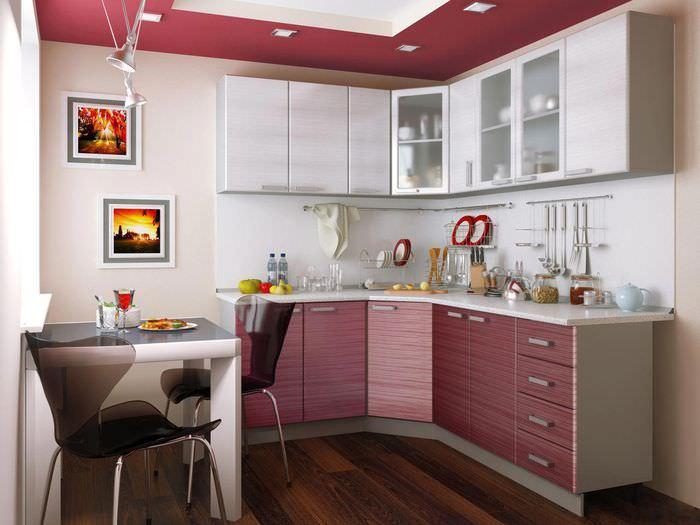 Интерьер кухни среднего размера с обеденным столом