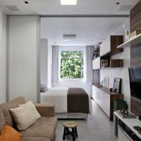 Вытянутая комната с раздвижной перегородкой