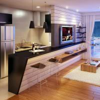 Дизайн современной квартиры студии с барной стойкой