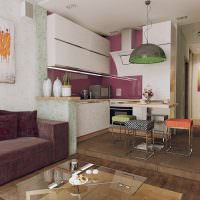 Кухня на подиуме в квартире-студии