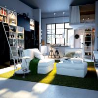 Квартира студия с одним окном в два яруса