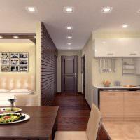 Точечные светильники на потолке узкого коридора