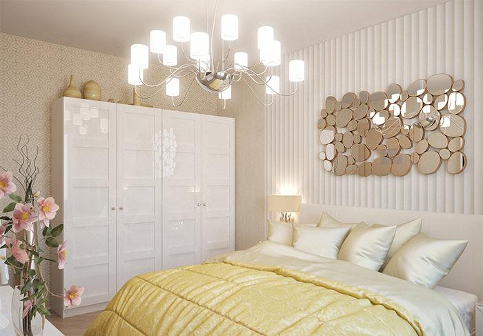 Белый шкаф в спальне с двумя видами обоев
