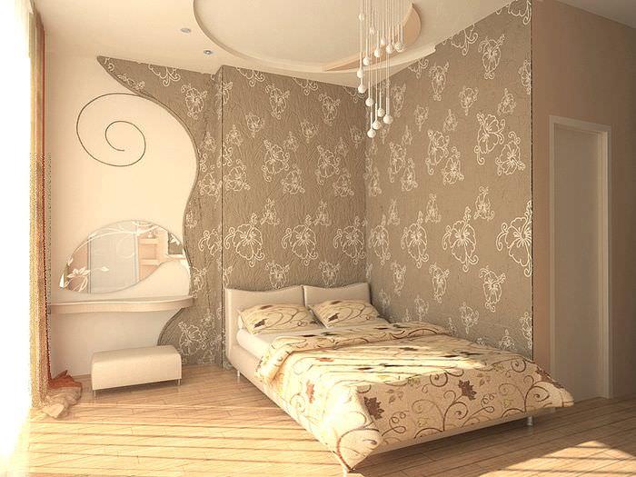 Спальная комната с текстильными обоями