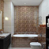 Коричневый кафель на стене ванной комнаты