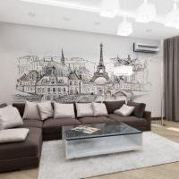Фотообои с видом Парижа на стене в гостиной