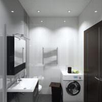 Черный пол в небольшой ванной комнате