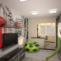 Дизайн узкой комнаты с присоединенным балконом