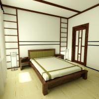 Белые стены спальни в восточном стиле