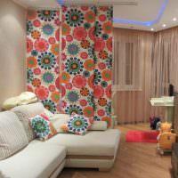Зонирование комнаты с помощью японских штор