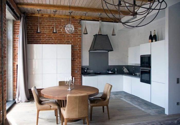 Интерьер угловой кухни в стиле лофт