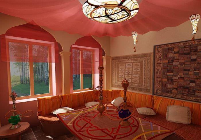 Кухня в восточном стиле с угловым диваном