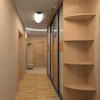 Корпусная мебель в интерьере узкого коридора