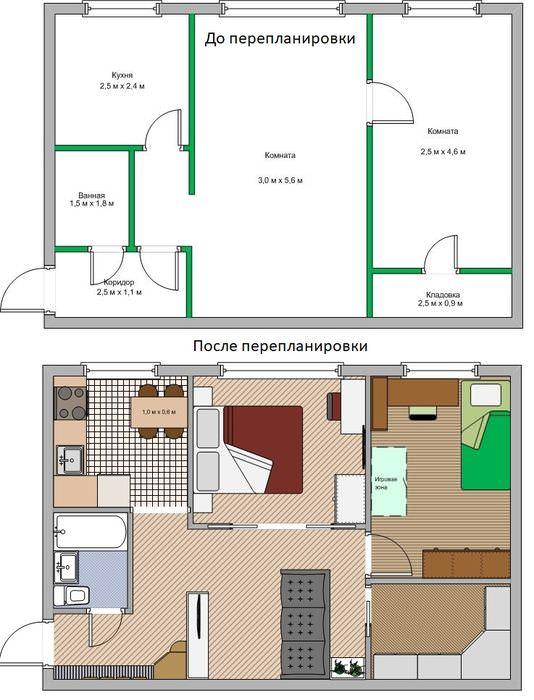 План-схема перепланировки двухкомнатной хрущевки