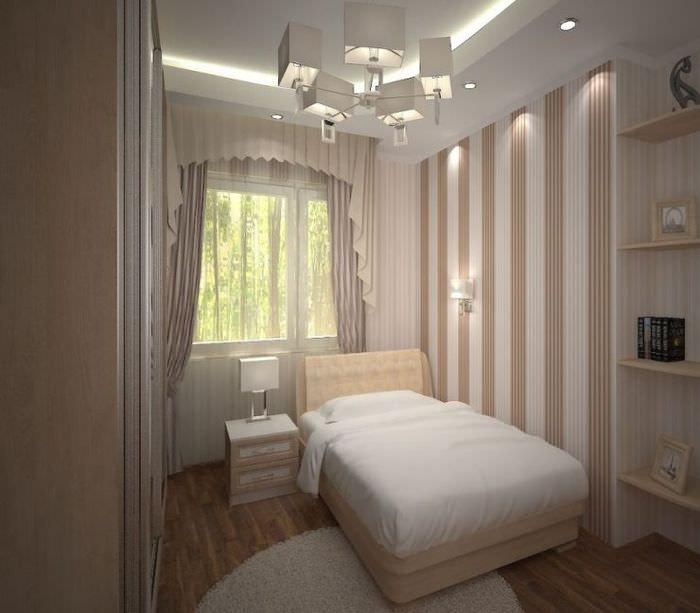 Односпальная кровать в интерьере небольшой спальни