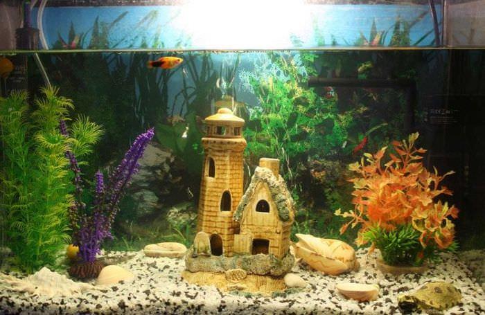 Сказочный замок внутри аквариума