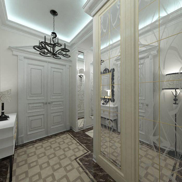 Черная люстра на потолке прихожей в стиле арт-деко