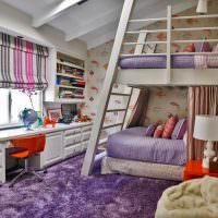 Фиолетовый цвет в оформлении детской комнаты