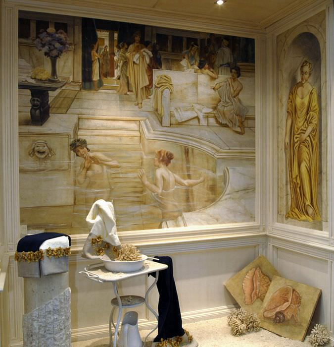 Художественная роспись на стене комнаты в античном стиле