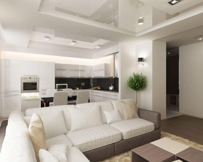 Глянцевый натяжной потолок в кухне-гостиной