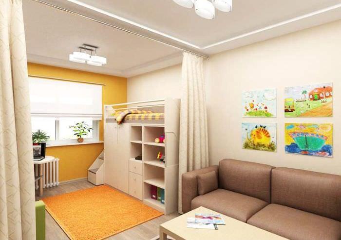Зонирование однокомнатной квартиры с помощью штор