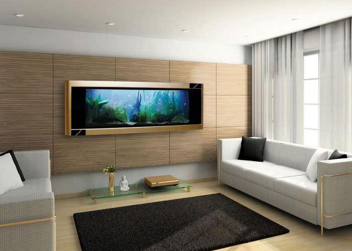 Интерьер гостиной с аквариумом-картиной на стене