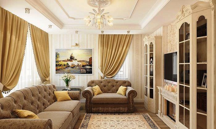 Интерьер классической гостиной в оттенках бежевого цвета