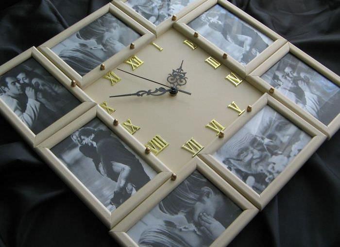 Декор настенных часов с помощью фото в рамках