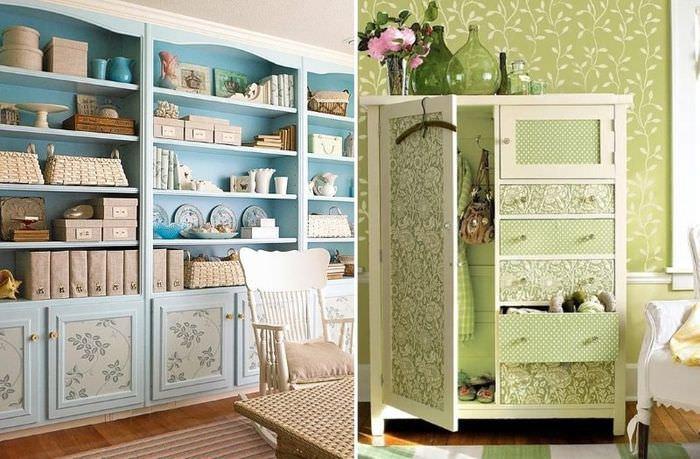Декорирование поверхностей мебели бумажными обоями