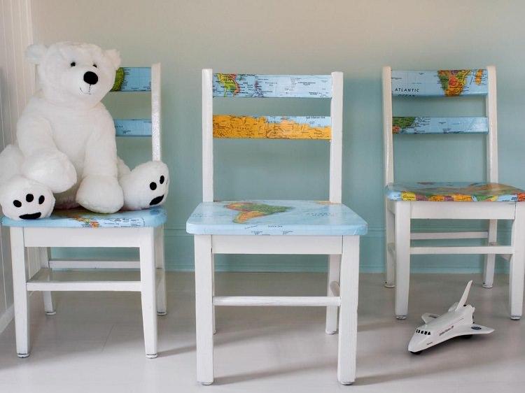 Декорирование детских стульчиков с помощью карты мира