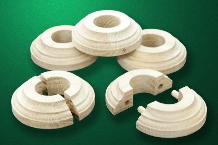 Деревянные накладки для декорирования труб отопления