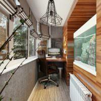 Дизайн рабочего кабинета на узком балконе