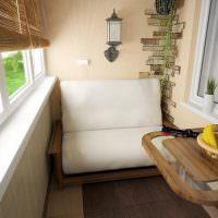 Маленький диванчик на небольшом балконе