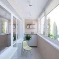Оформление балкона в светлых тонах