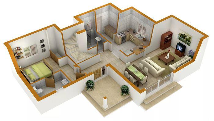Проект интерьера частного дома с тремя жилыми комнатами